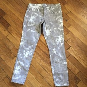 Gray and white Express jeans